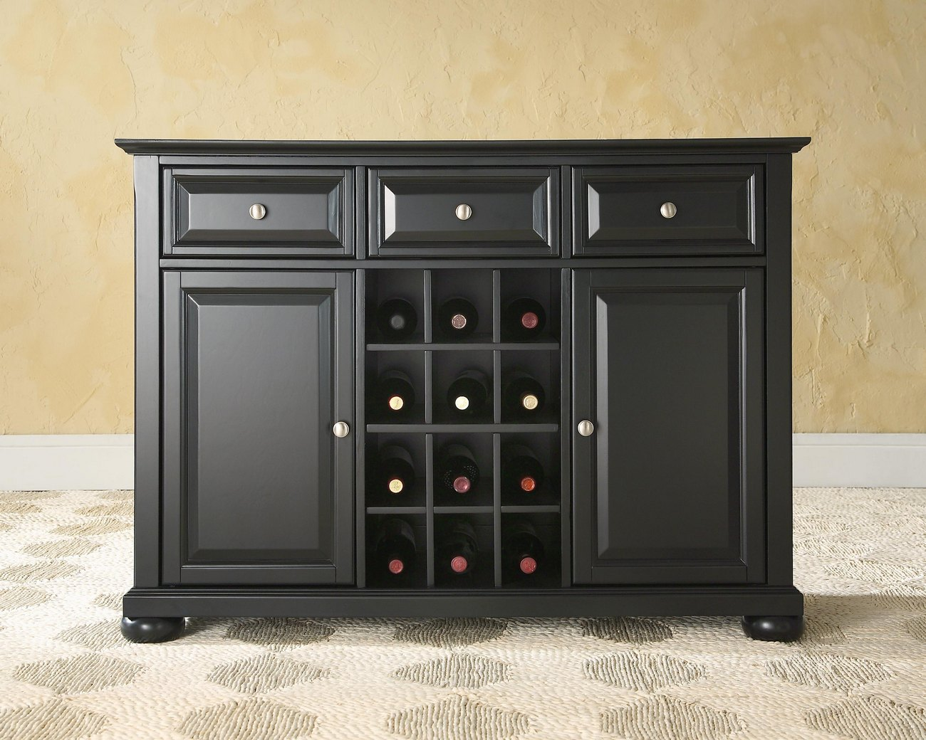 Alexandria Buffet Server / Sideboard Cabinet w/ Wine Storage in Black Finish - Crosley KF42001ABK