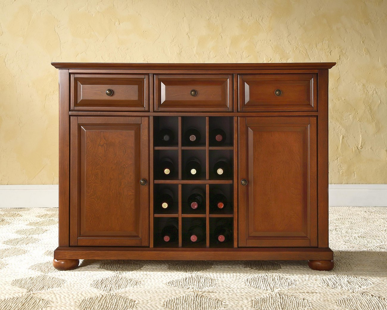 Alexandria Buffet Server / Sideboard Cabinet w/ Wine Storage in Classic Cherry Finish - Crosley KF42001ACH