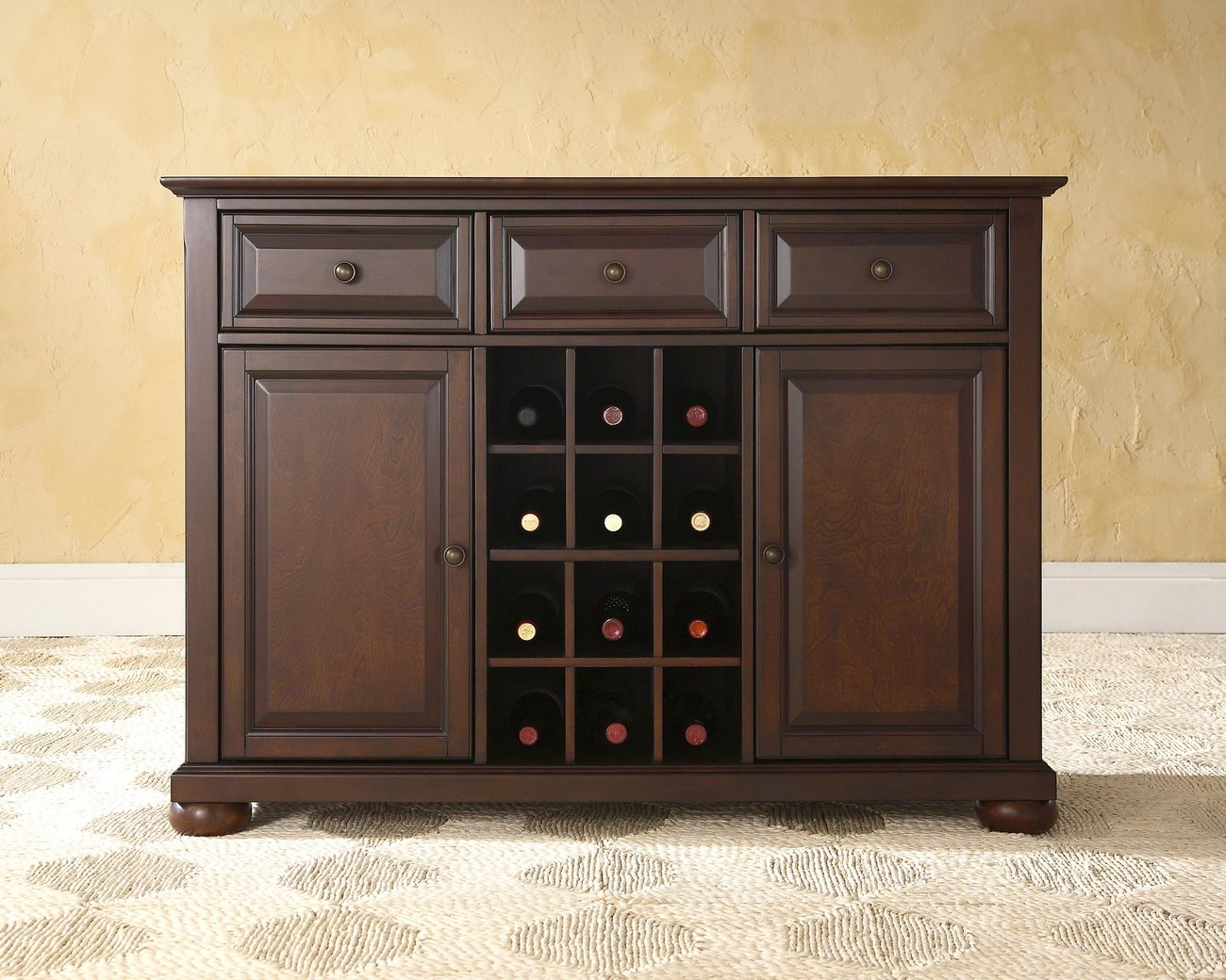 Alexandria Buffet Server / Sideboard Cabinet w/ Wine Storage in Vintage Mahogany Finish - Crosley KF42001AMA