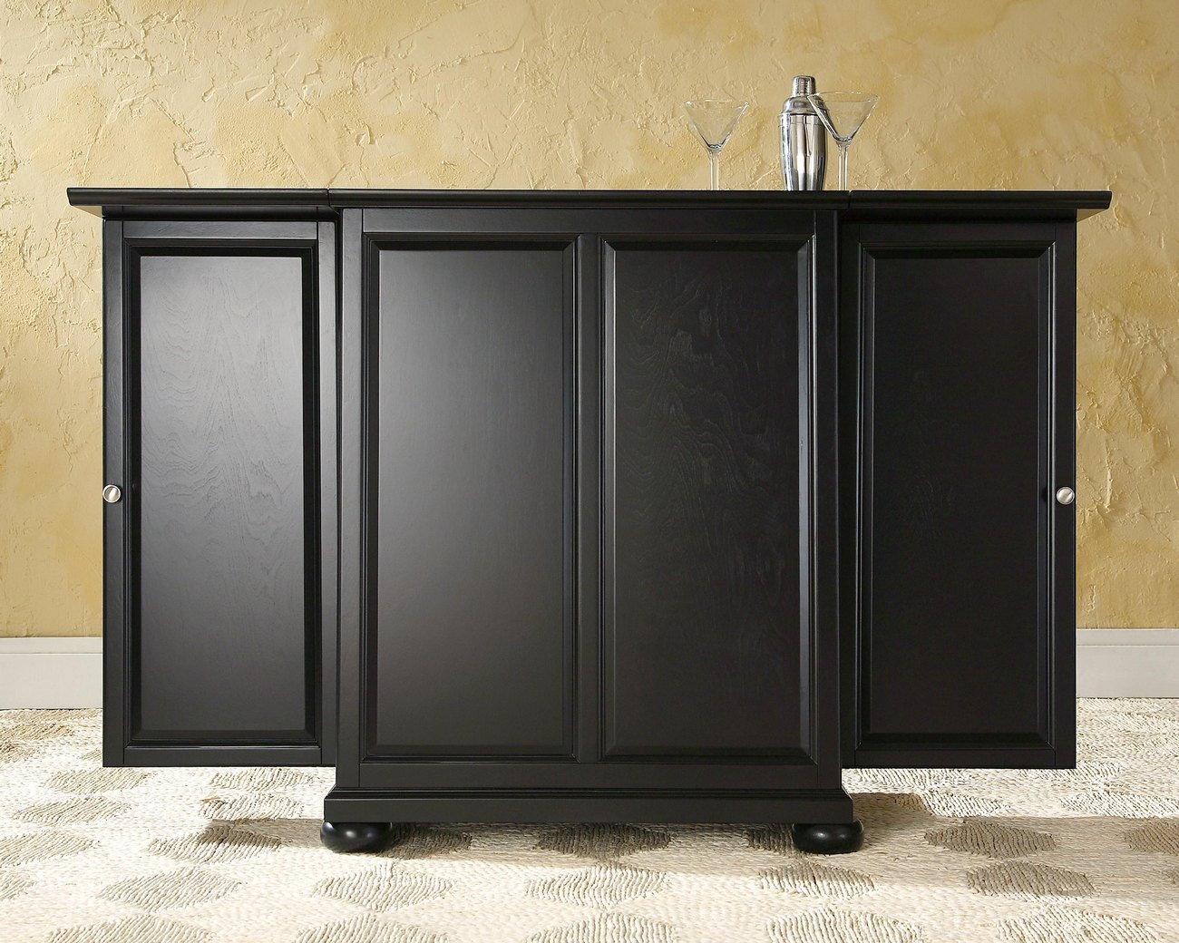 Alexandria Expandable Bar Cabinet in Black Finish - Crosley KF40001ABK