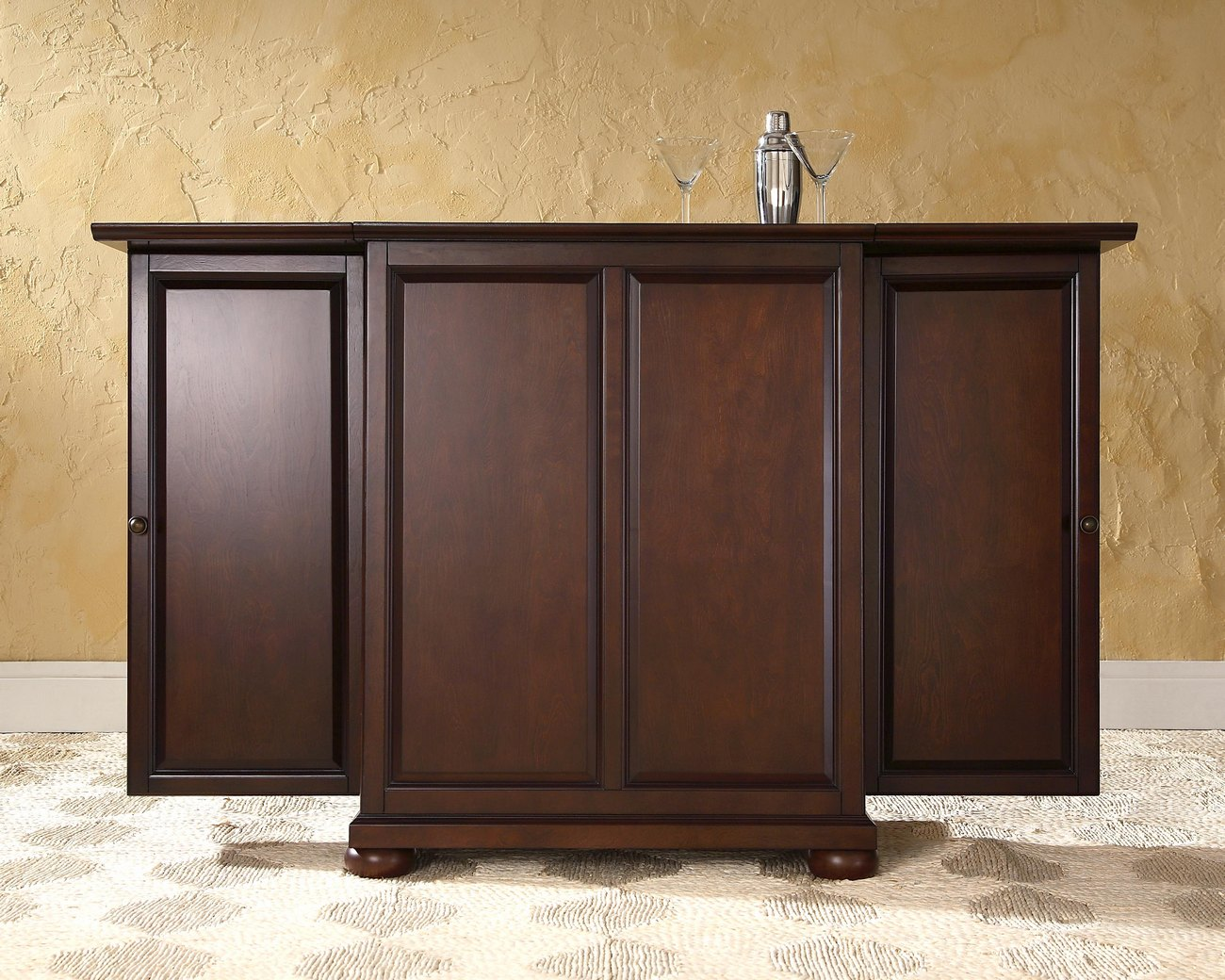 Alexandria Expandable Bar Cabinet in Vintage Mahogany Finish - Crosley KF40001AMA