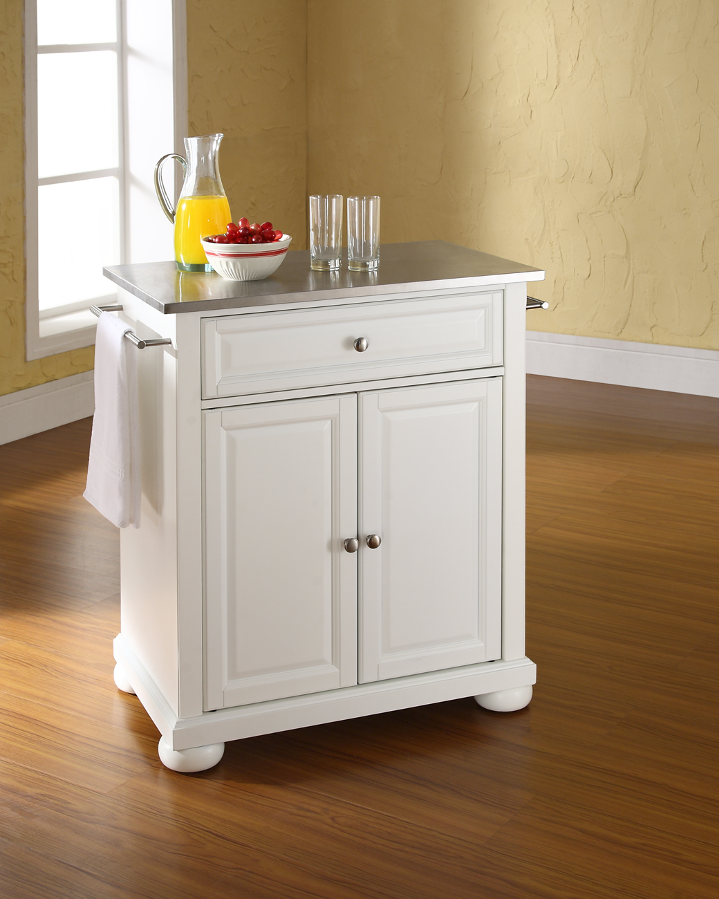 Alexandria Stainless Steel Top Portable Kitchen Island in White Finish - Crosley KF30022AWH
