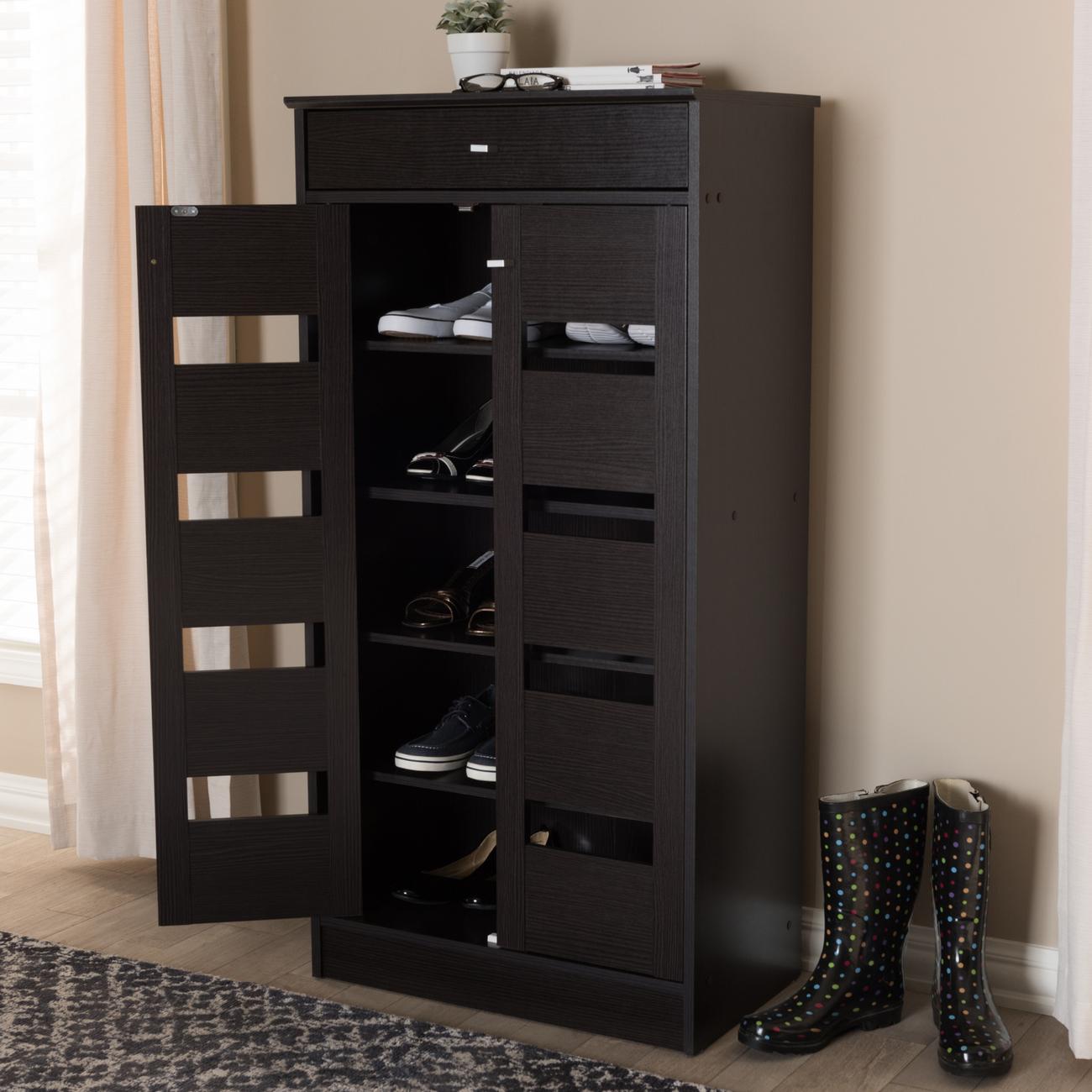 Baxton Studio Acadia Modern & Contemporary Wenge Brown Finished Shoe Cabinet - MH27202-Wenge-Shoe Rack
