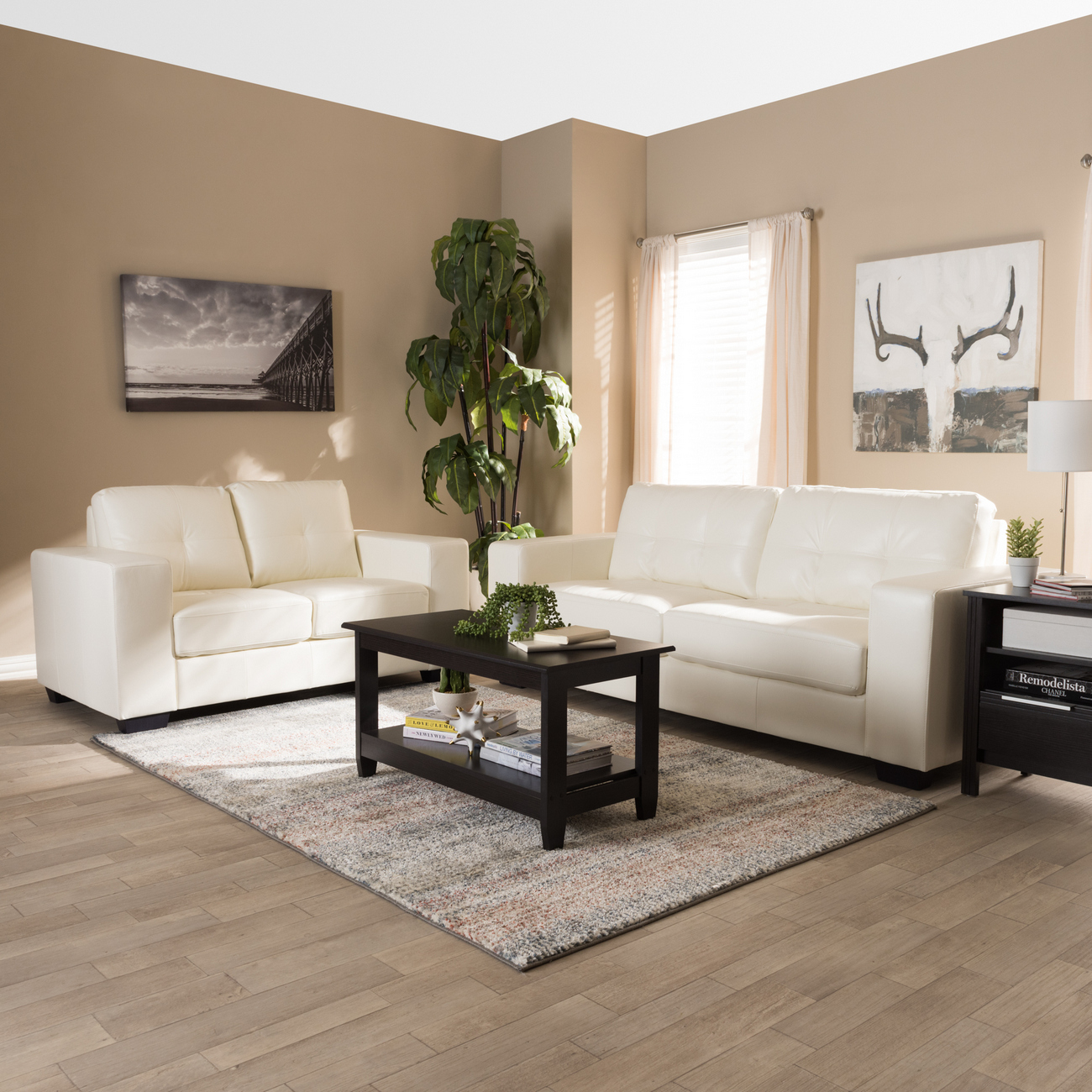 Wholesale Interiors Adalynn Modern Contemporary White Faux Leather Upholstered