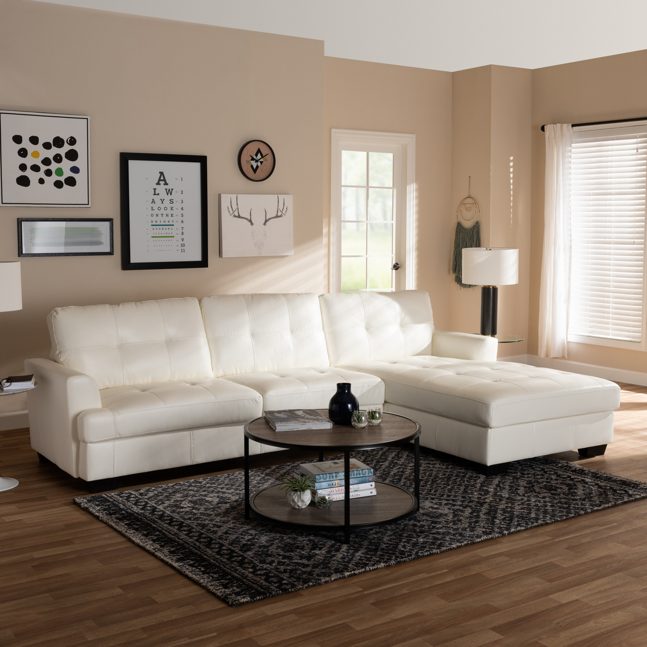Wholesale Interiors White Leather Upholstered Sectional Sofa