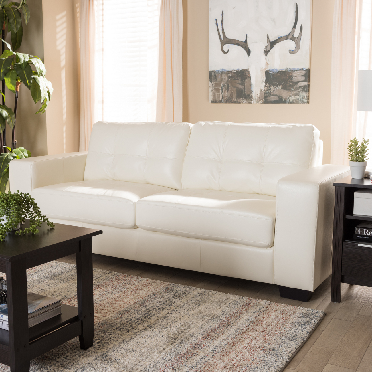 Baxton Studio Adalynn Modern & Contemporary White Faux Leather Upholstered Sofa - U2470-White-SF (IDS06LT-SF)