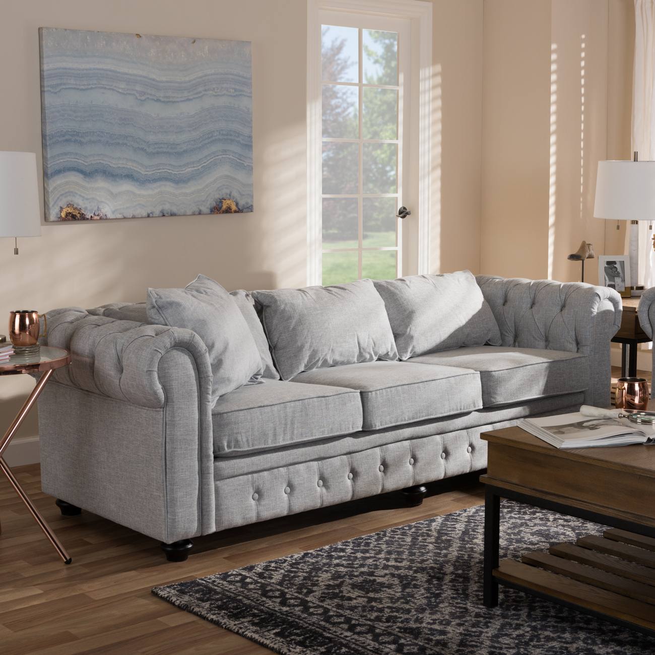Wholesale Interiors Modern Grey Linen Tufted Scroll Arm Chesterfield Sofa