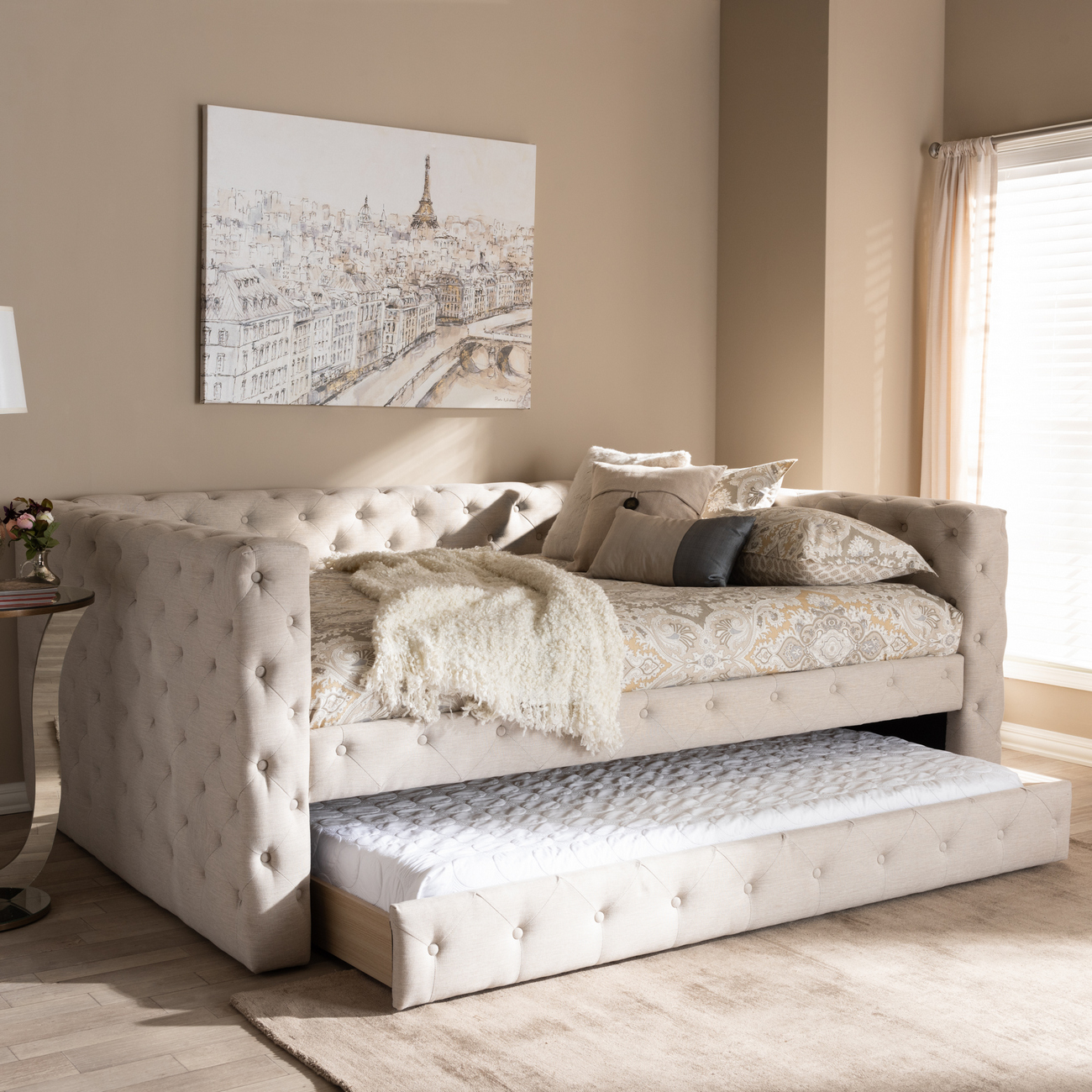 Light Beige Fabric Upholstered Daybed Trundle