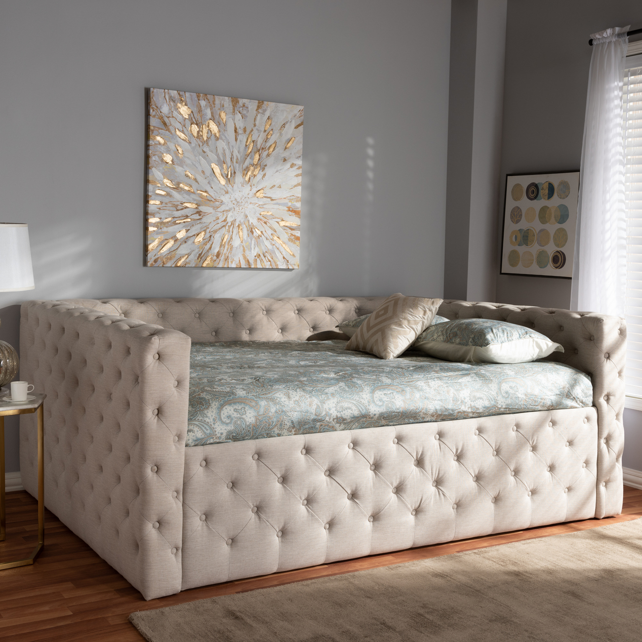 Light Beige Fabric Upholstered Daybed