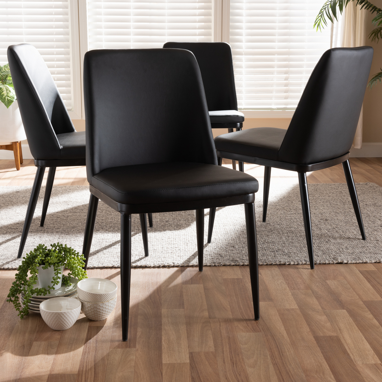 Wholesale Interiors Darcell Modern Contemporary Black Faux Leather Upholstered
