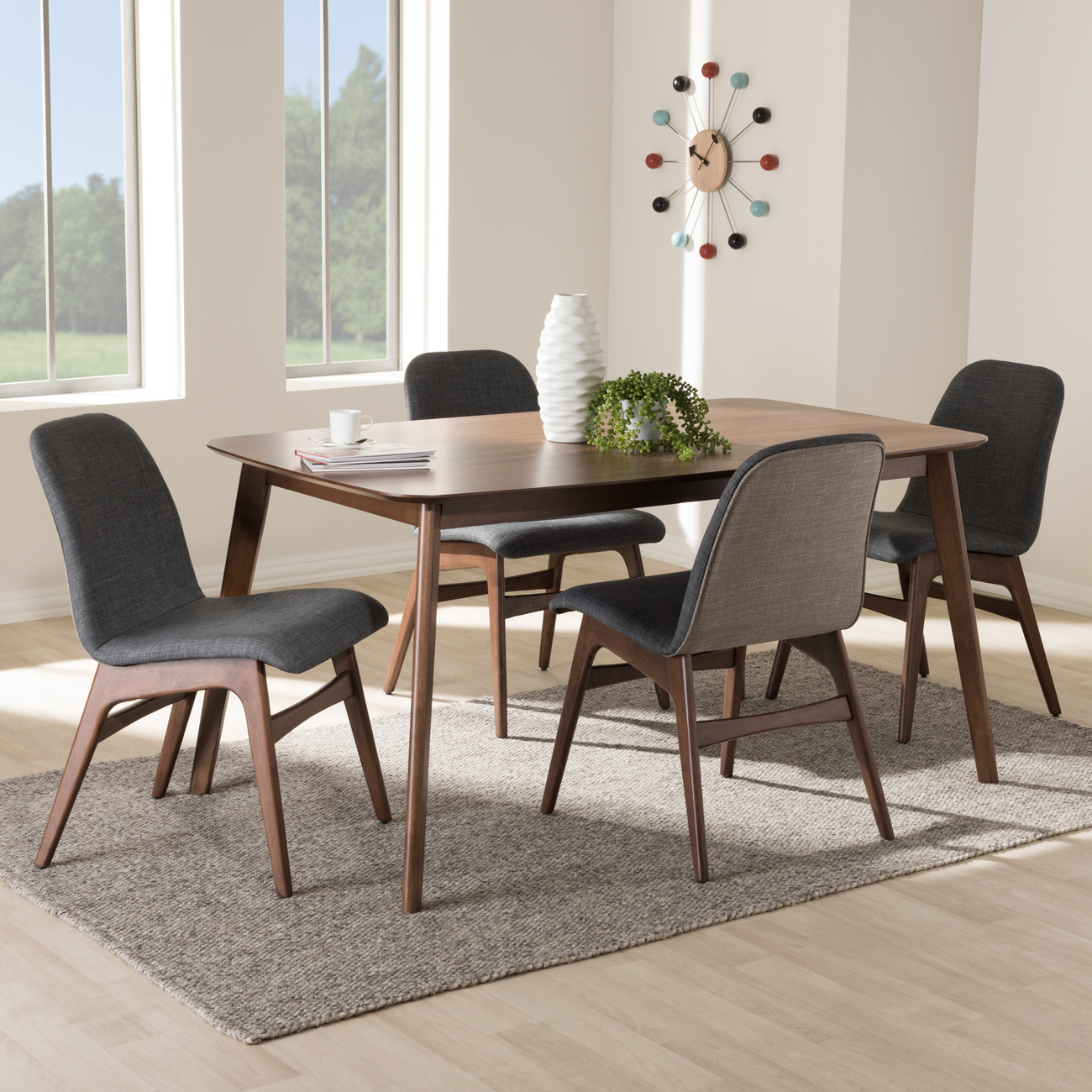 Wholesale Interiors Upholstered Walnut Dining Set