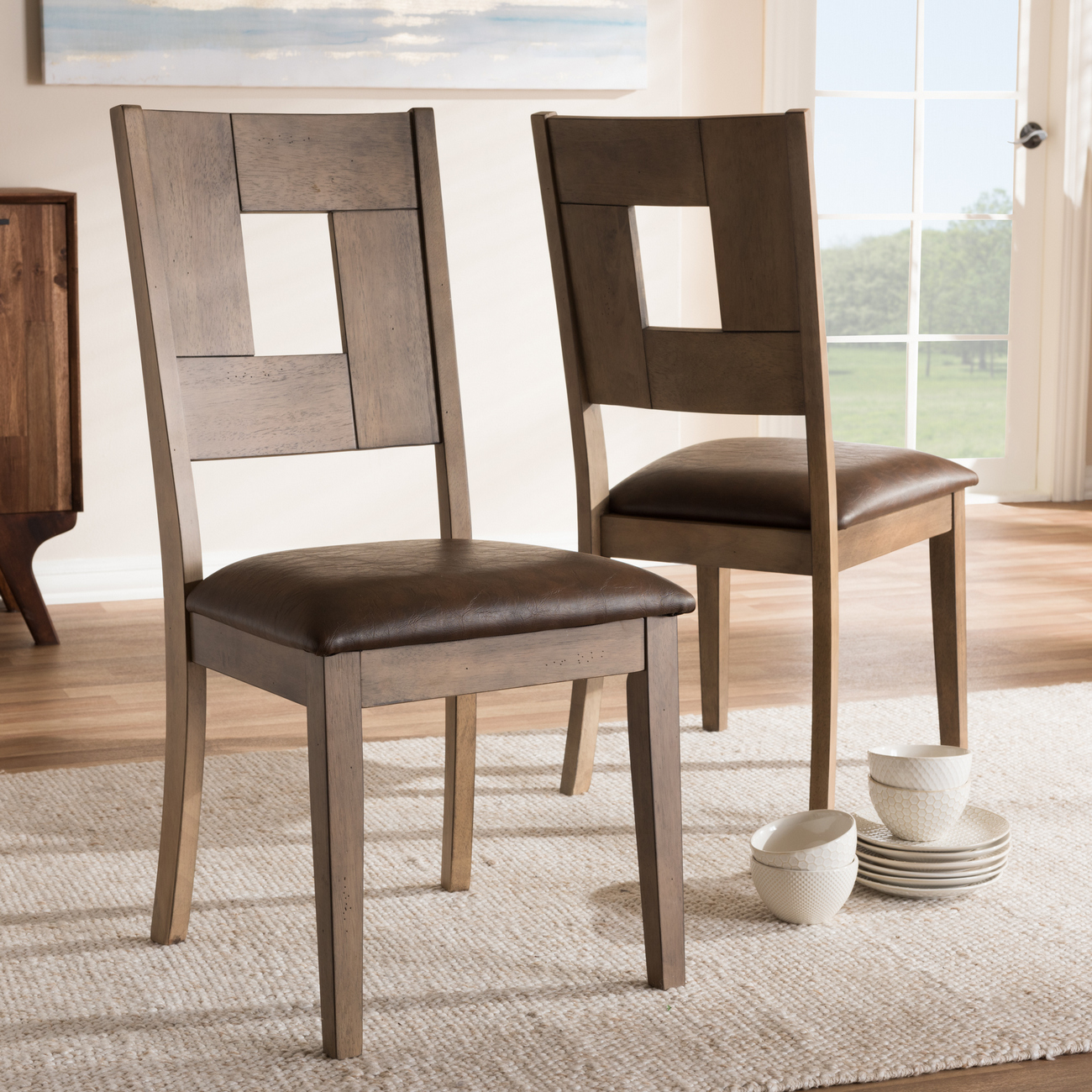 Baxton Studio Gillian Shabby Chic Country Cottage Weathered Grey Finishing Wood & Distressed Dark Brown Faux Leather Upholstered Dining Side Chair Set (Set of 2) - ALR-15383-Dark Brown/Grey-DC