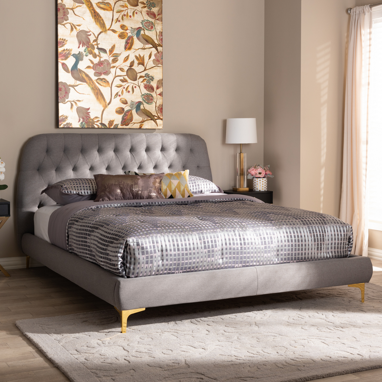 Upholster | Platform | Fabric | Finish | Light | Grey | Full | Gold | Size | Bed | Leg