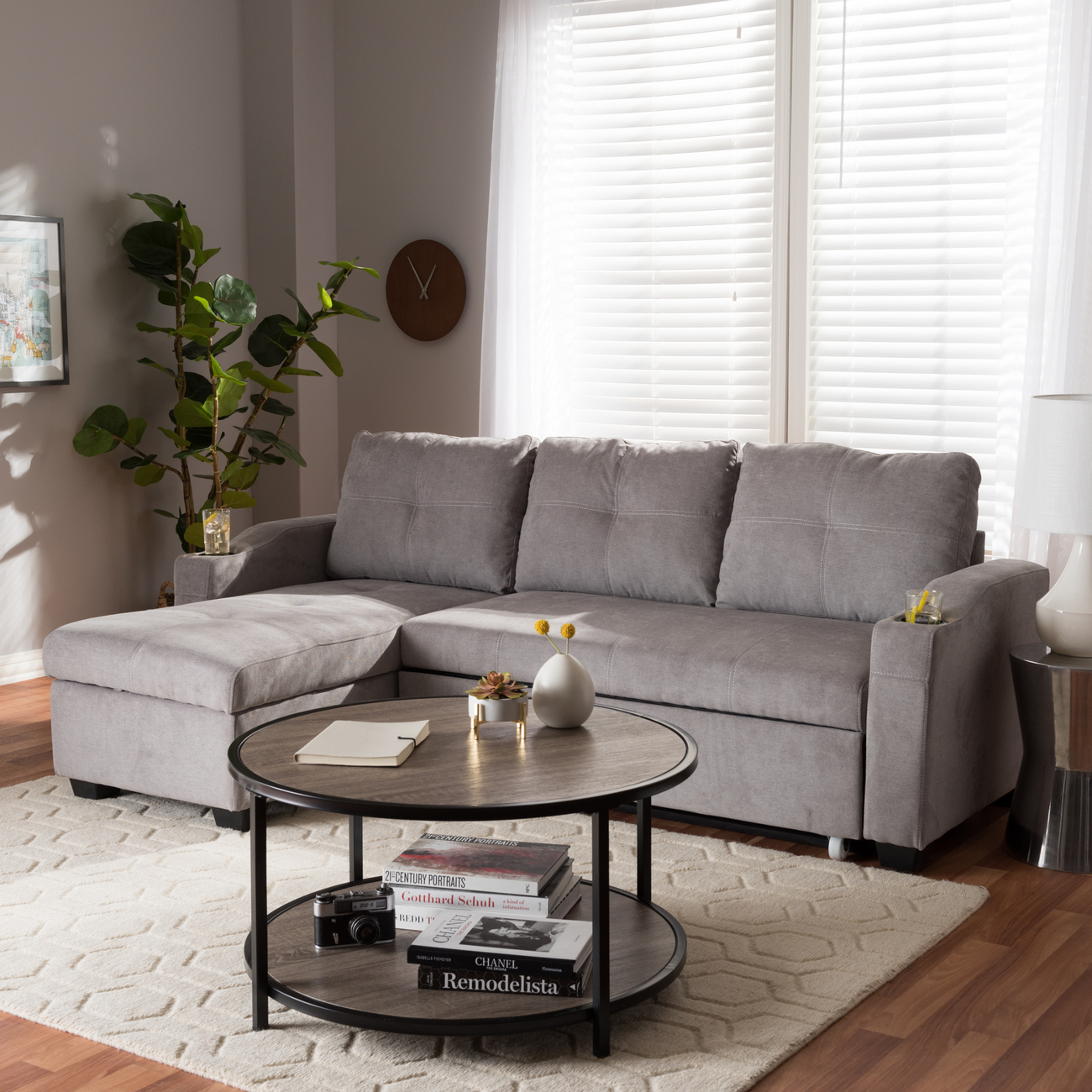 Wholesale Interiors Baxton Studio Lianna Modern and Contemporary Light Grey Fabric Upholstered Sectional Sofa - R8068-Light Grey-Rev-SF