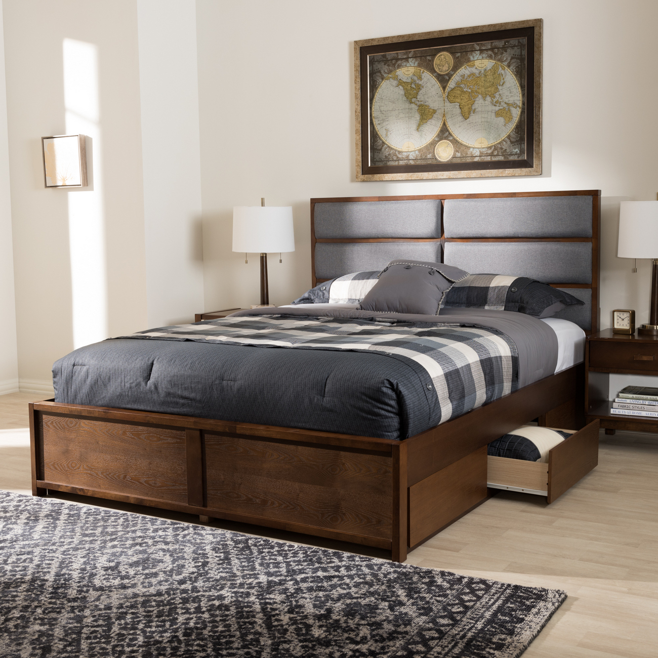Dark Fabric Upholstered Walnut King Storage Platform Bed