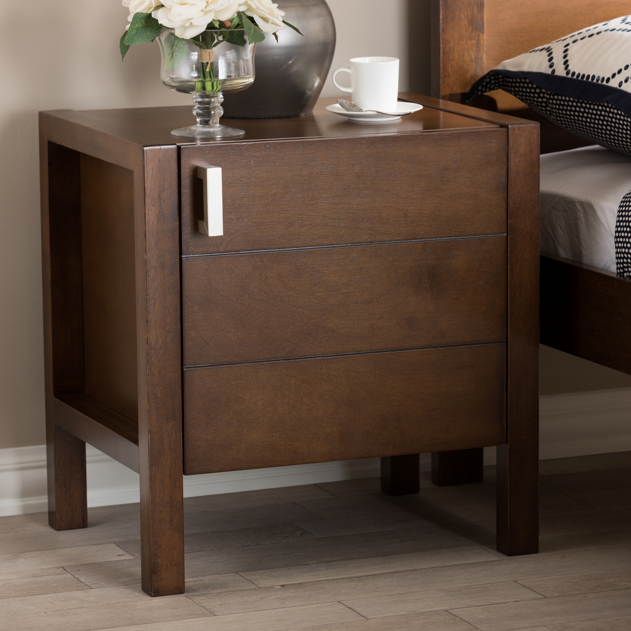 Contemporary   Nightstand   Modern   Brown   Wood