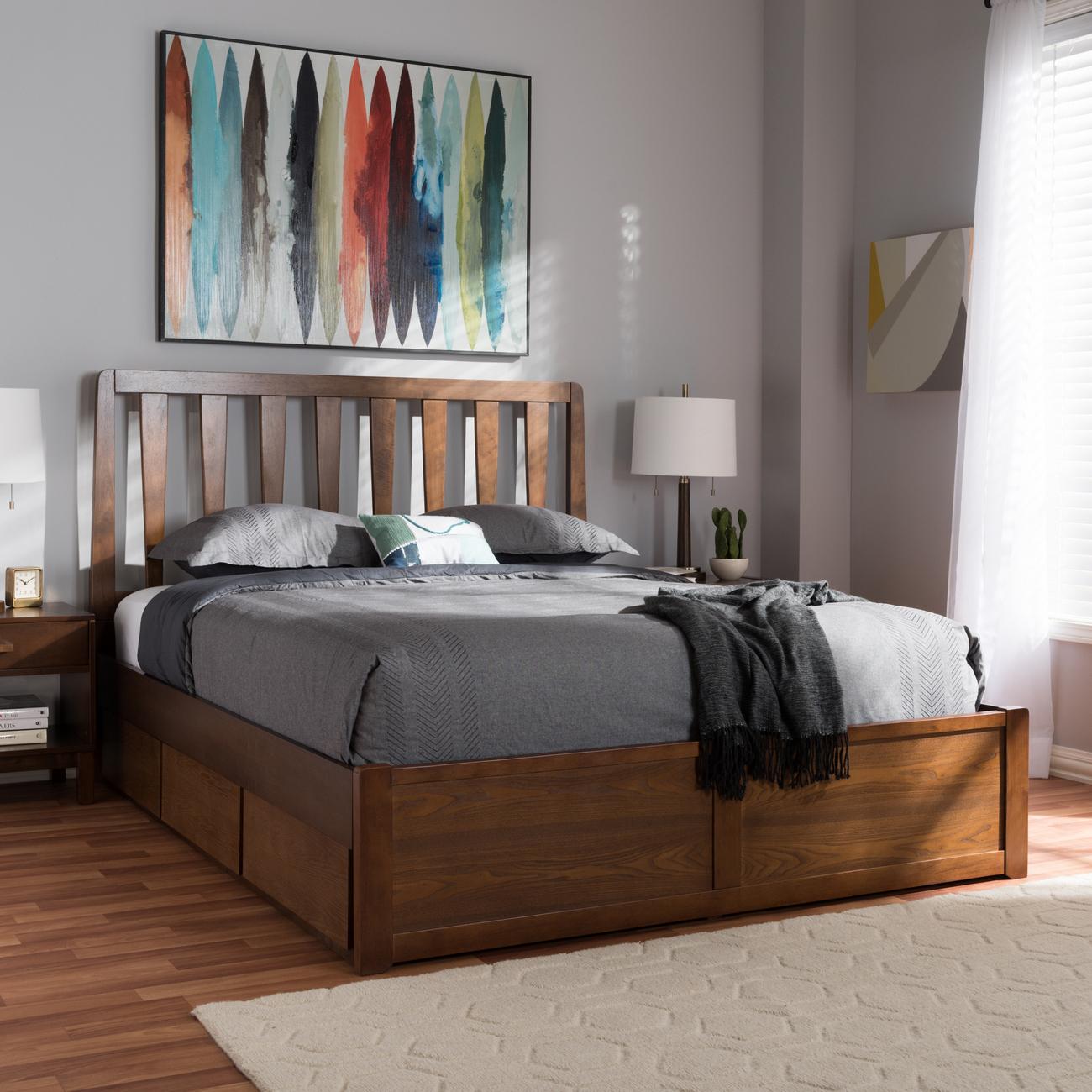 Wholesale Interiors Raurey Modern Contemporary Walnut Finished King Size