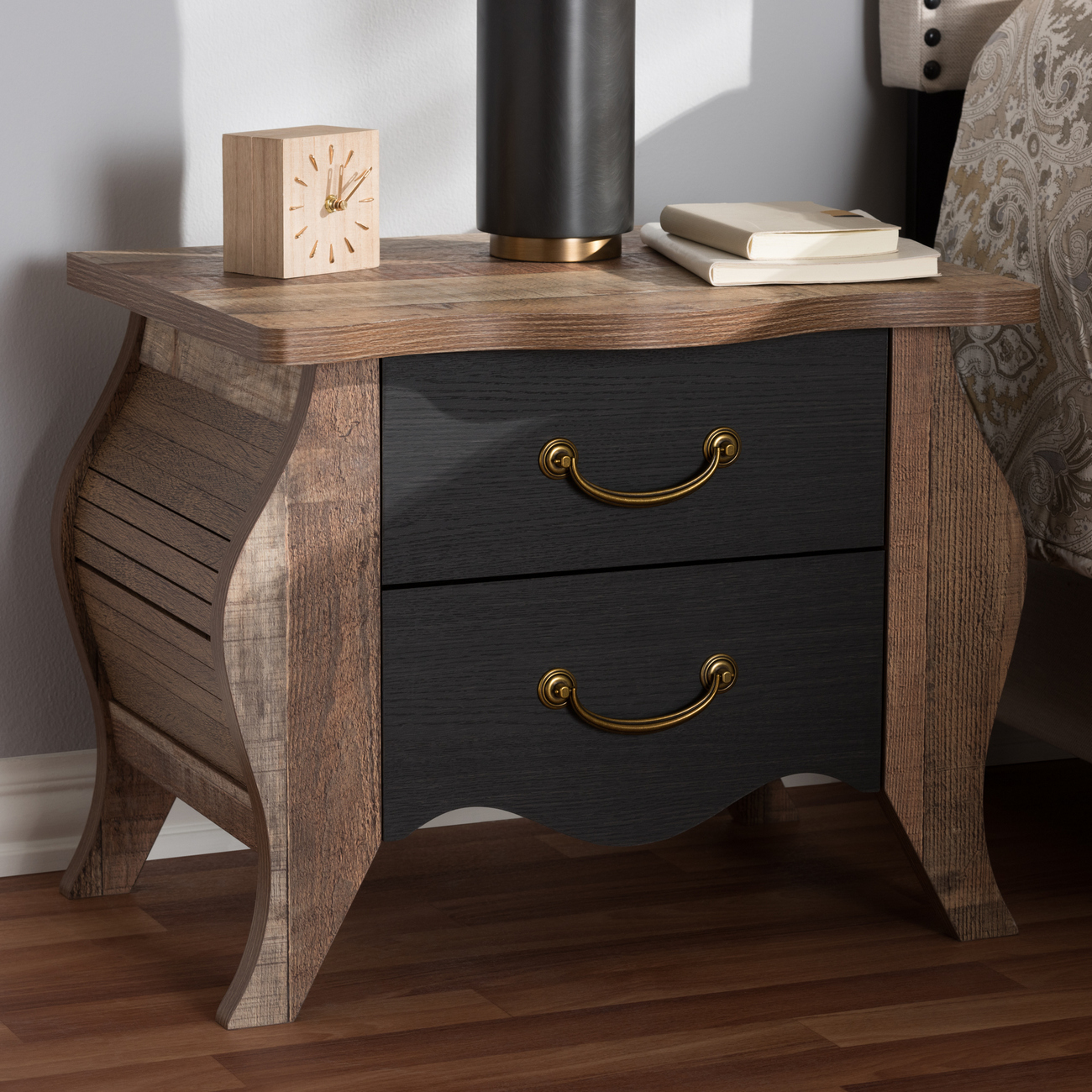 Baxton Studio Romilly Country Cottage Farmhouse Black Oak Finished Wood 2 Drawer Nightstand Br990063 Blackoak 2dw Ns