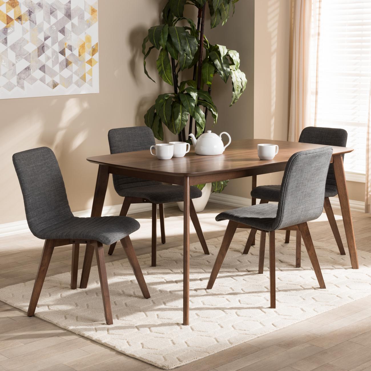 Wholesale Interiors Sugar Mid Century Modern Grey Fabric Walnut Wooded Dining Set