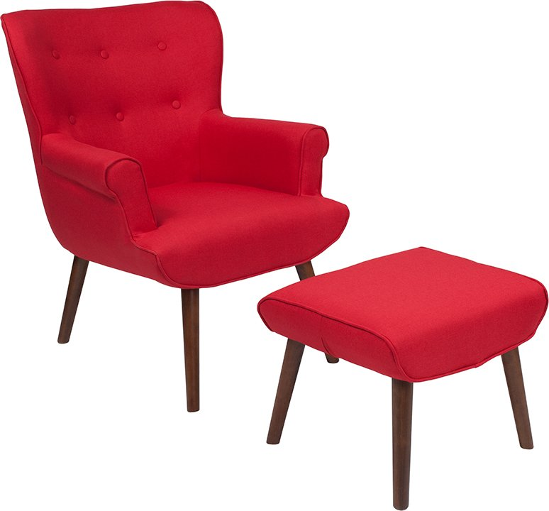 Upholster   Furniture   Ottoman   Fabric   Flash   Chair   Red