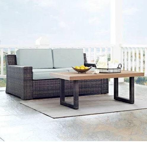 Beaufort 2 Pc Outdoor Wicker Seating Set w/ Mist Cushion - Loveseat, Coffee Table - Crosley KO70097BR