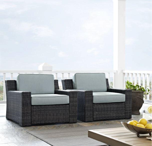Beaufort 2 Pc Outdoor Wicker Seating Set w/ Mist Cushion - Two Outdoor Wicker Chairs - Crosley KO70100BR