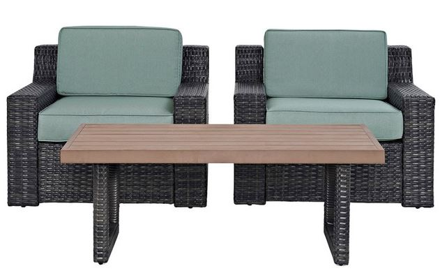 Beaufort 3 Pc Outdoor Wicker Seating Set w/ Mist Cushion - Two Outdoor Wicker Chairs, Coffee Table - Crosley KO70099BR