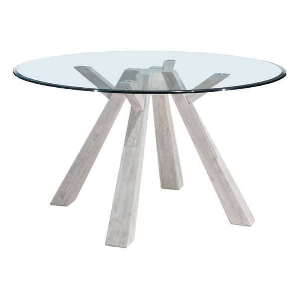 Zuo Glass Round Dining Table Sun Drenched Acacia