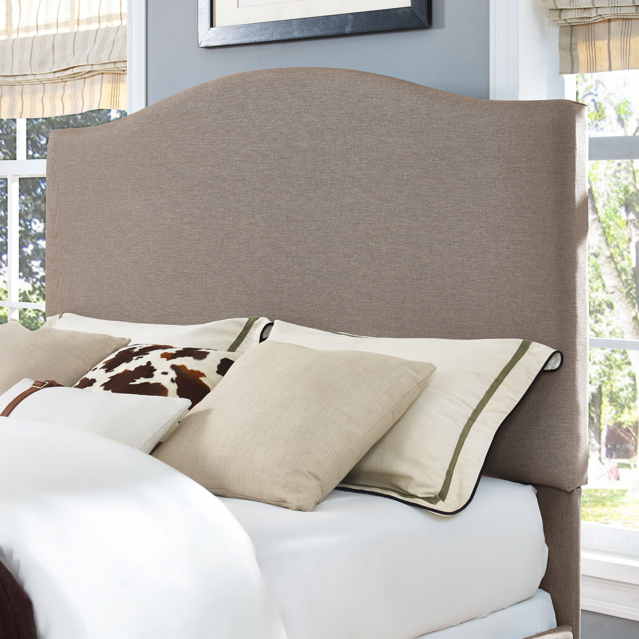 Bellingham Camelback Upholstered Full/Queen Headboard in Oatmeal Linen - Crosley CF90004-501OL
