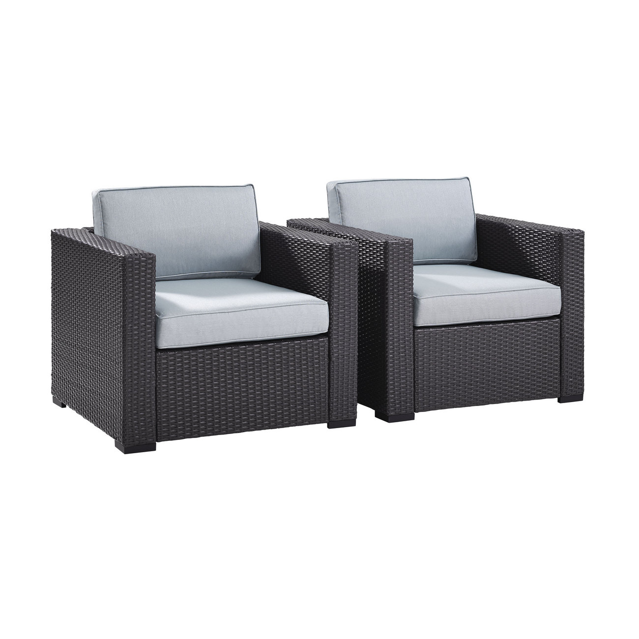 Biscayne 2 Person Outdoor Wicker Seating Set in Mist - Two Outdoor Wicker Chairs - Crosley KO70103BR-MI