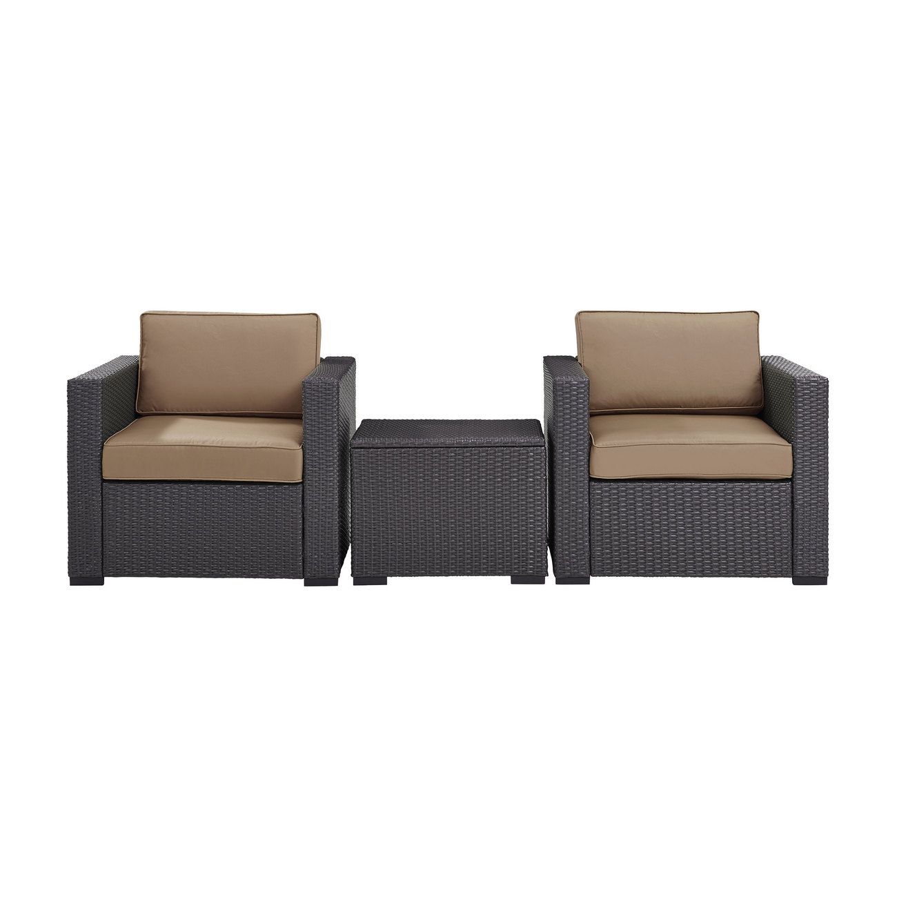 Biscayne 2 Person Outdoor Wicker Seating Set in Mocha - Two Outdoor Wicker Chairs & Coffee Table - Crosley KO70104BR-MO