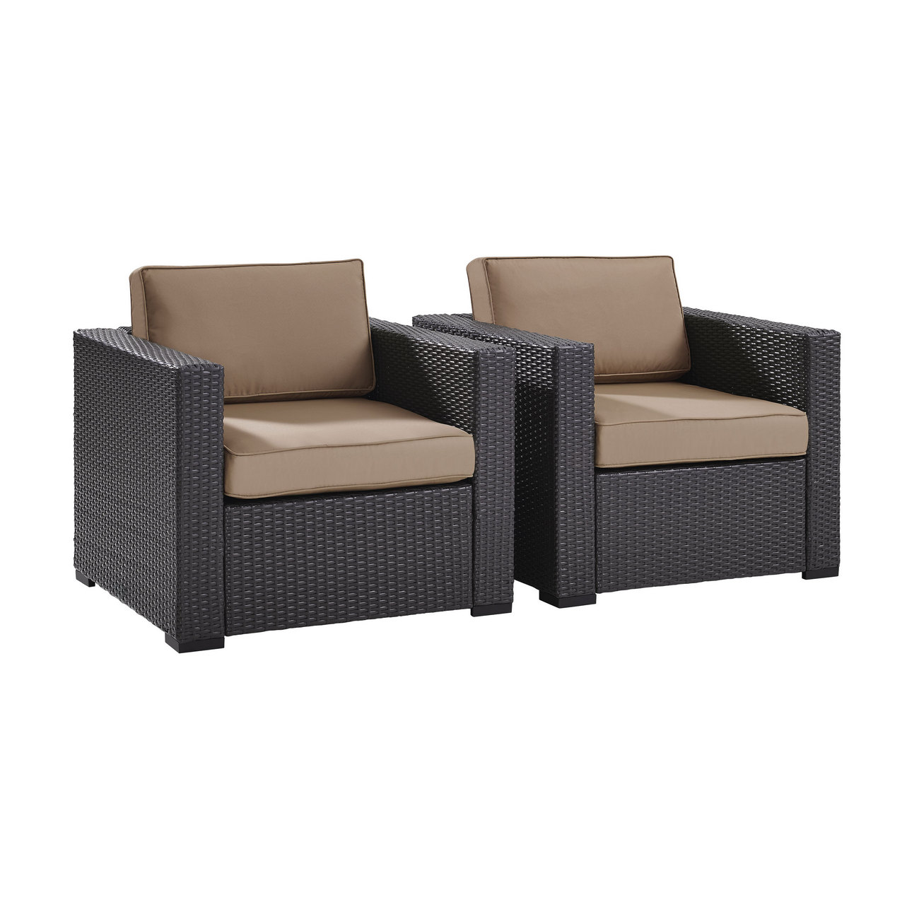 Biscayne 2 Person Outdoor Wicker Seating Set in Mocha - Two Outdoor Wicker Chairs - Crosley KO70103BR-MO