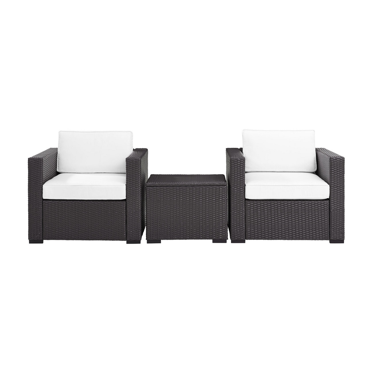 Biscayne 2 Person Outdoor Wicker Seating Set in White - Two Outdoor Wicker Chairs & Coffee Table - Crosley KO70104BR-WH