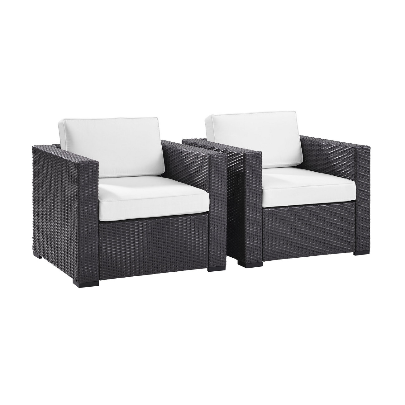 Biscayne 2 Person Outdoor Wicker Seating Set in White - Two Outdoor Wicker Chairs - Crosley KO70103BR-WH