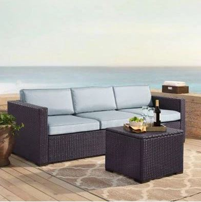 Crosley Brands Biscayne Person Outdoor Wicker Seating Set Mist