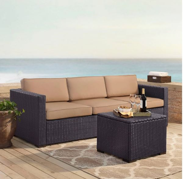 Crosley Brands Biscayne Person Outdoor Wicker Seating Set Mocha
