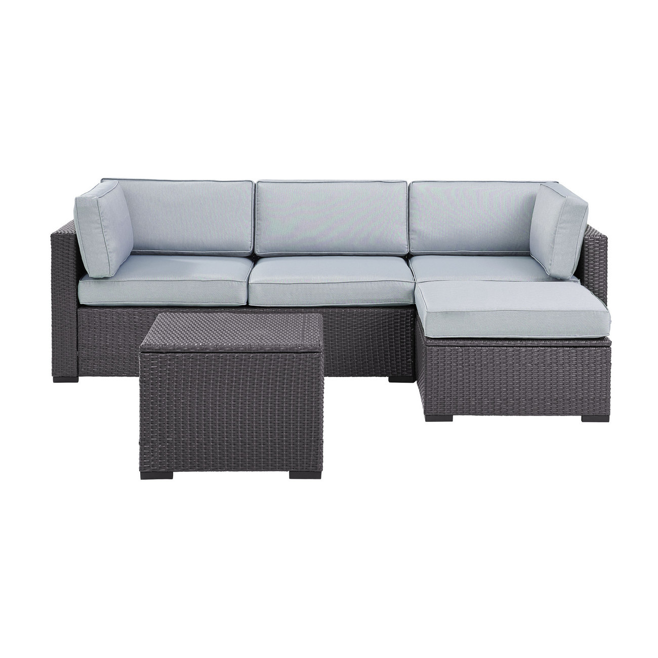 Biscayne 4 Person Outdoor Wicker Seating Set in Mist - One Loveseat, One Corner Chair, Ottoman, Coffee Table - Crosley KO70105BR-MI