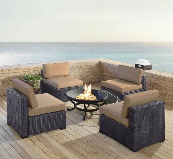 Biscayne Outdoor Wicker Seating Set Mocha Four Armless Chairs Ashland Firepit
