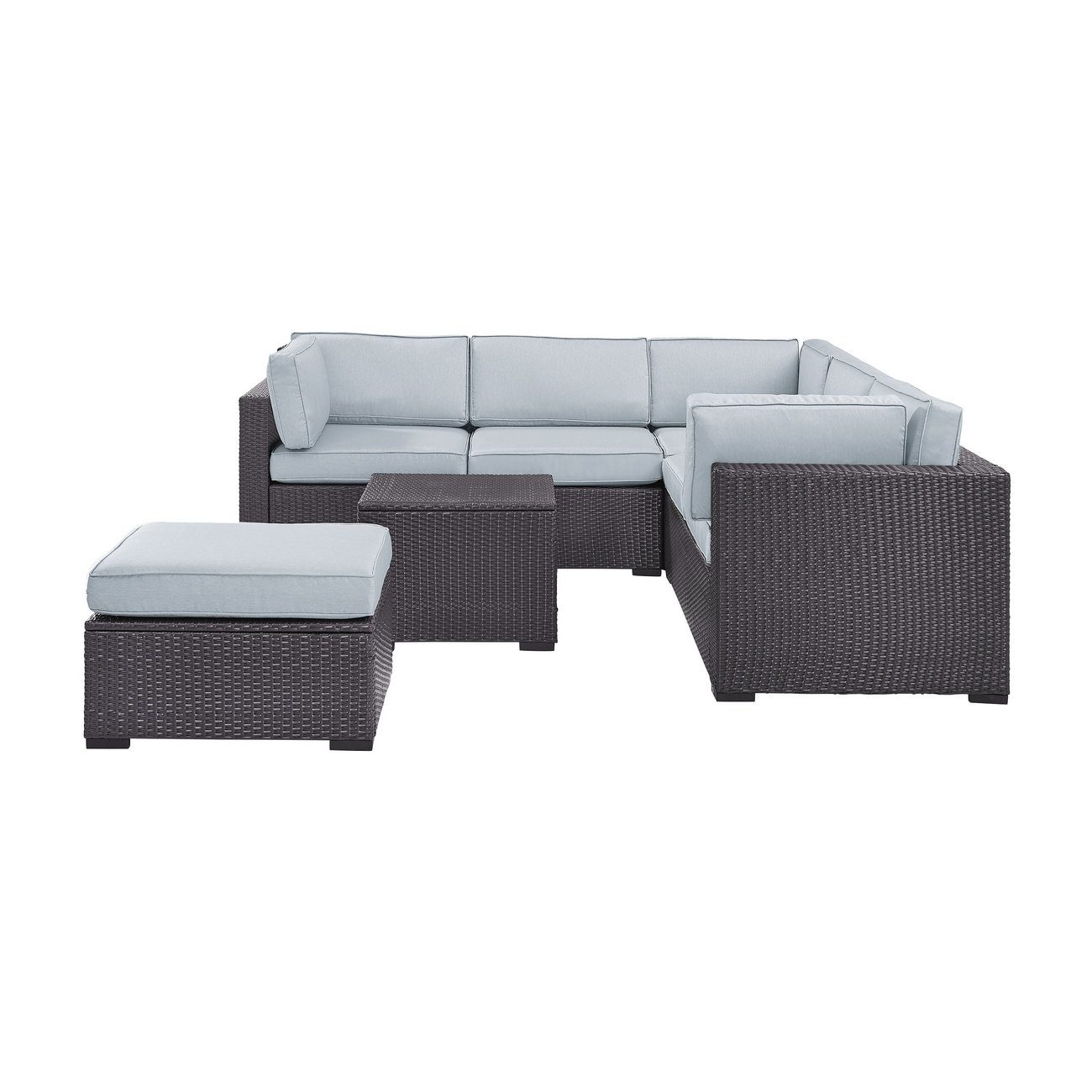 Crosley Brands Biscayne Person Outdoor Wicker Seating Set Mist Two
