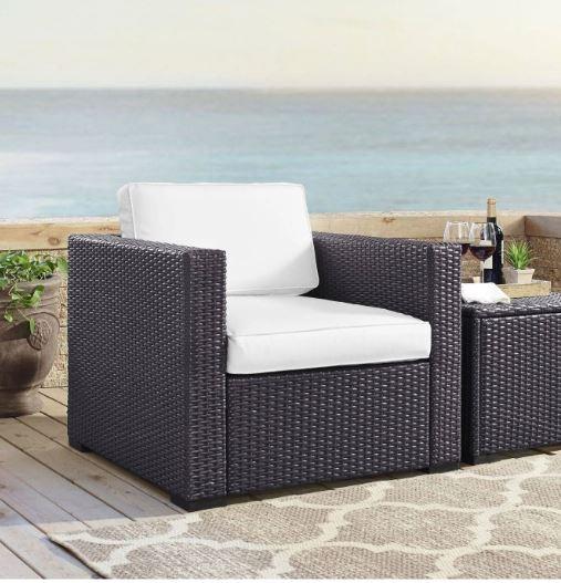 Biscayne Armchair w/ White Cushions - Crosley KO70130BR-WH