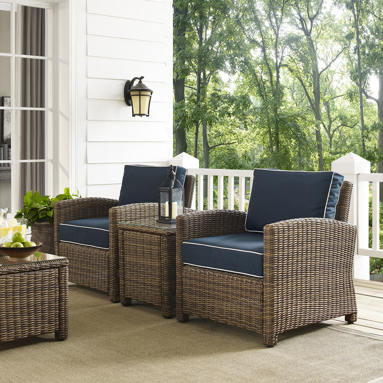 Crosley Brands Outdoor Wicker Conversation Set Navy Cushions