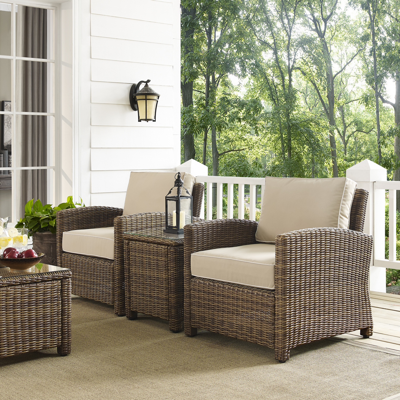Crosley Brands Furniture Conversation Set Outdoor Wicker Sand Photo