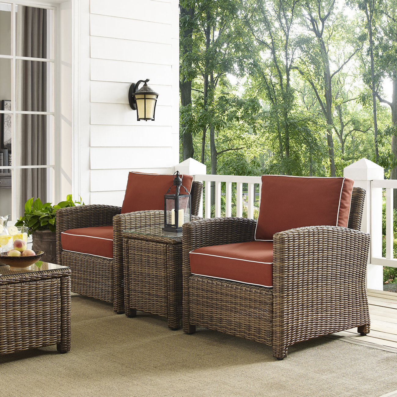 Crosley Brands Furniture Conversation Set Outdoor Wicker Sangria Photo