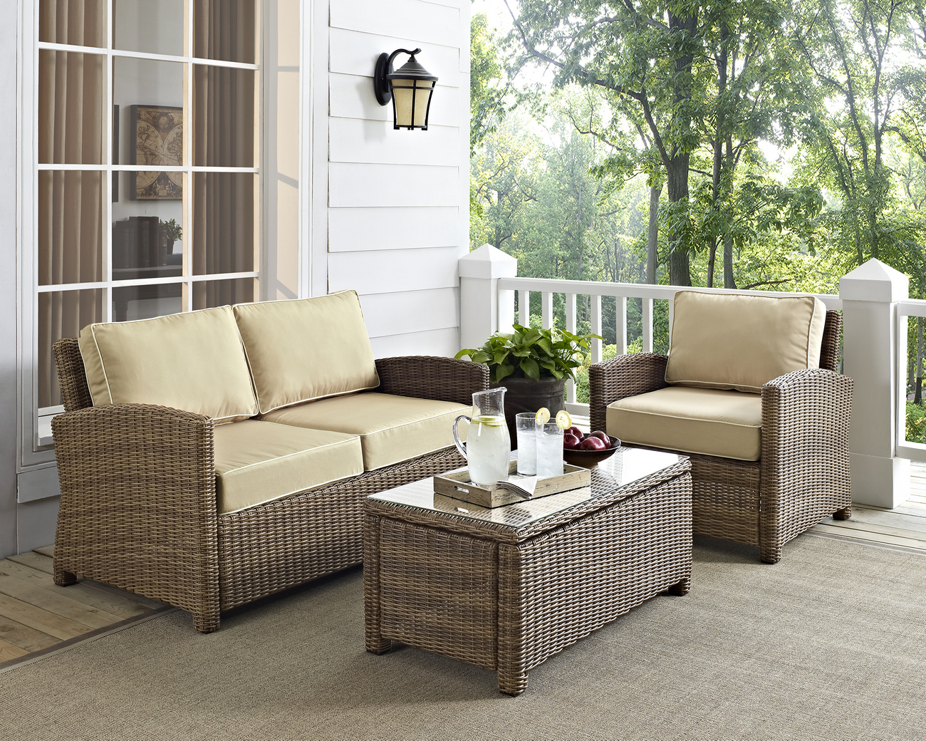 Outdoor Wicker Seating Set Sand Cushions Loveseat Arm Chair Glass Top Table