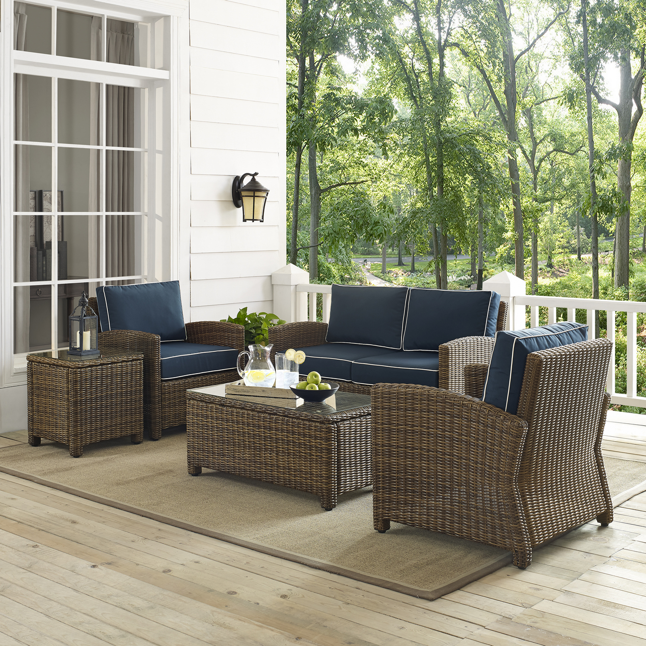 Outdoor Wicker Conversation Set Cushions Loveseat Two Arm Chairs Side Table Glass Top Table