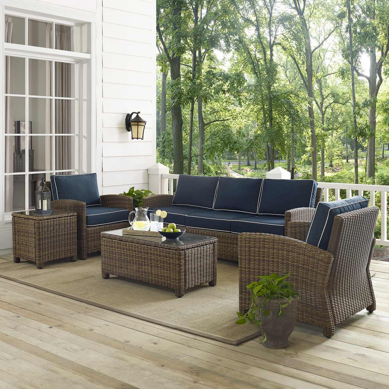 Crosley Brands Wicker Sofa Conversation Set Navy Cushions
