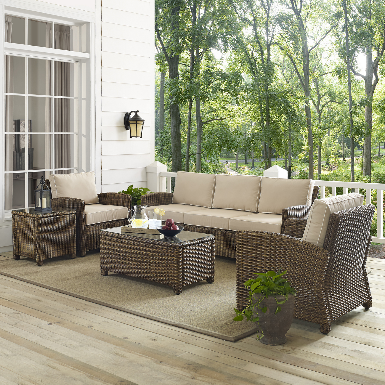 Crosley Brands Wicker Sofa Conversation Set Sand Cushions
