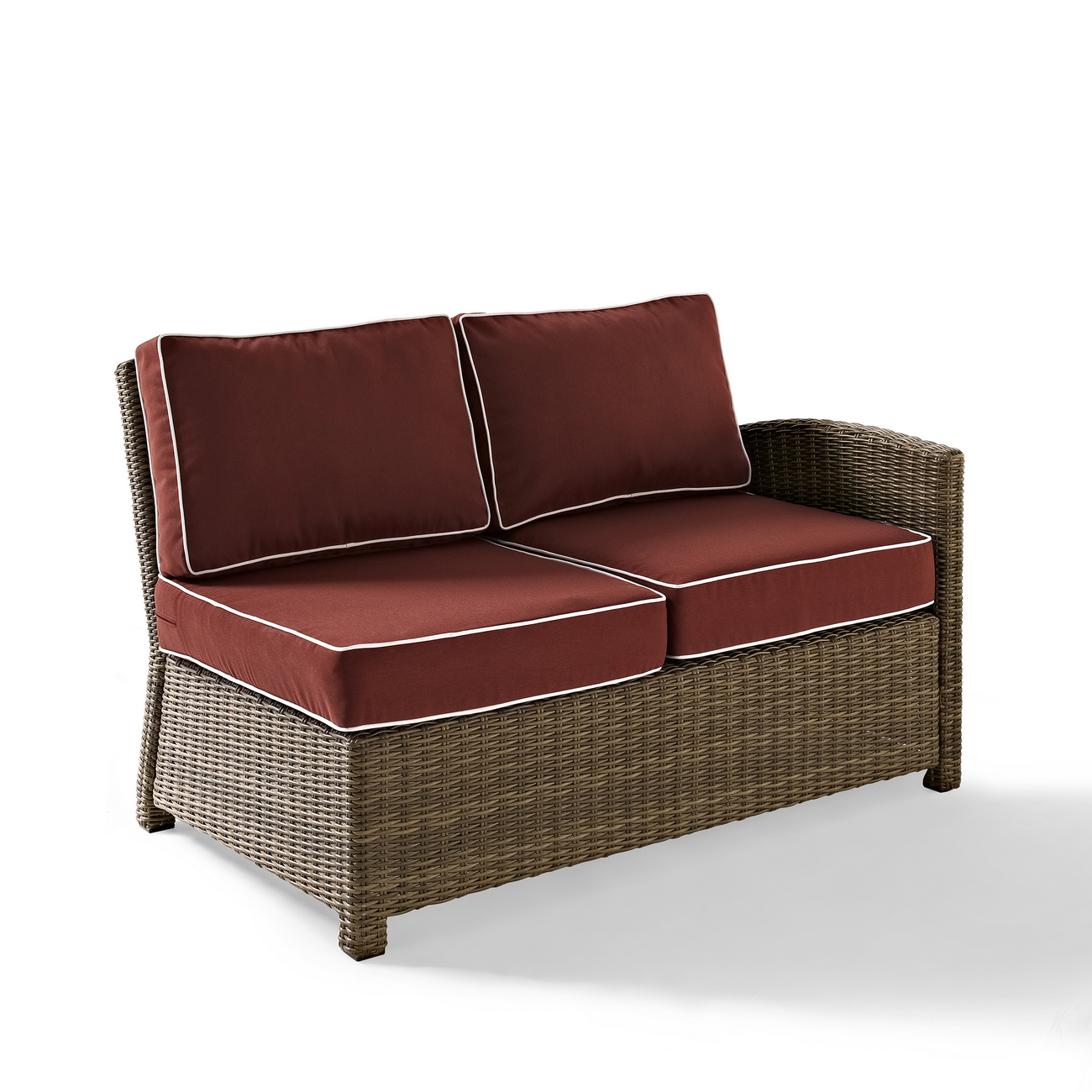 Crosley Outdoor Wicker Sectional Right Corner Loveseat Sangria Cushions