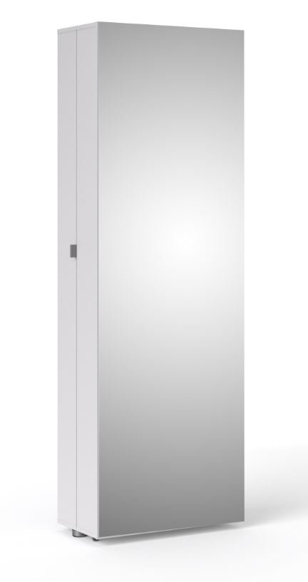 Bright Shoe Cabinet with Mirror Door in White - Tvilum 710094949
