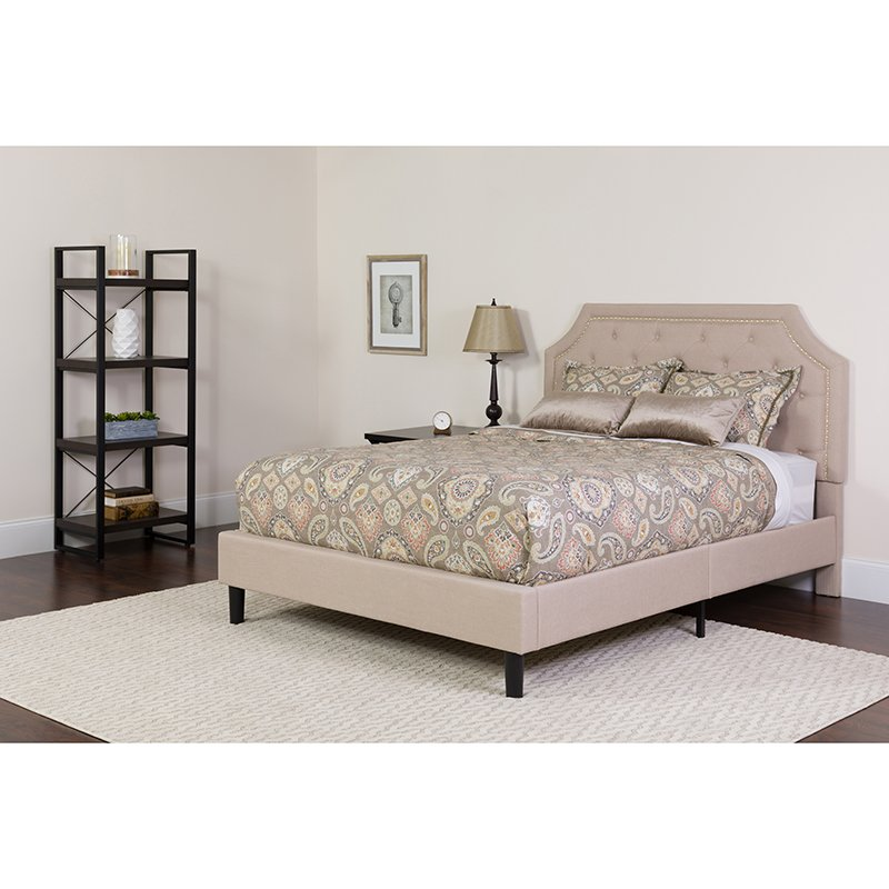 King Tufted Upholstered Platform Bed